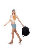 Woman with backpack isolated Stock Image