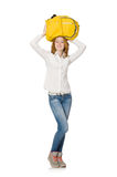 Woman with backpack isolated Royalty Free Stock Image