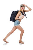 Woman with backpack isolated Stock Photography