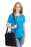 Woman with backpack isolated Royalty Free Stock Photos