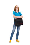Woman with backpack isolated Royalty Free Stock Photography