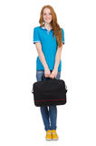 Woman with backpack isolated Royalty Free Stock Images