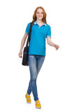 Woman with backpack isolated Royalty Free Stock Photo