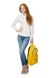 Woman with backpack isolated Stock Images