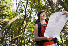 Woman with backpack and map Stock Photos