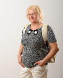 Woman with backpack. Royalty Free Stock Photos