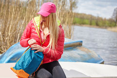 Woman with backpack outdoor Stock Photos