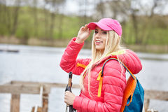 Woman with backpack outdoor Royalty Free Stock Image
