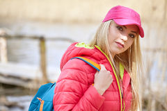 Woman with backpack outdoor Stock Photo