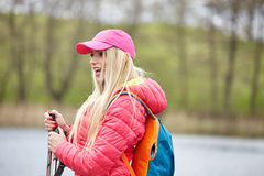 Woman with backpack outdoor Royalty Free Stock Photography