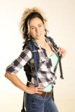 Woman with backpack smile stock photo
