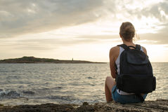 Woman with backpack. Stock Photo