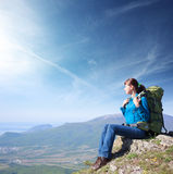 Woman with backpack Royalty Free Stock Photography