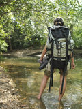 Woman With Backpack Walking In Forest Water. Rear view of a young woman carrying backpack while walking in forest water Royalty Free Stock Images
