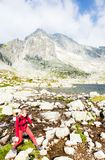 Woman backpacker in High Tatras Royalty Free Stock Photography