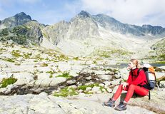 Woman backpacker in High Tatras Stock Photography