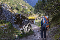 Woman backpacker hiking trail in Nepal. Stock Images