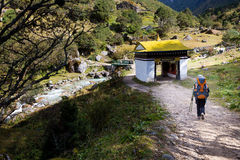 Woman backpacker hiking trail in Nepal. Stock Image