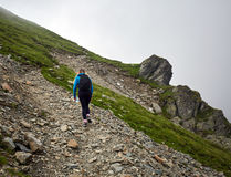 Woman backpacker hiking on a trail. Young woman hiker with backpack walking a trail in rocky mountains Stock Images