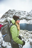 Woman backpacker hiking Travel Lifestyle adventure Stock Images