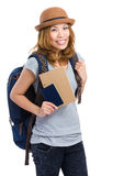 Woman backpacker with holding passport Royalty Free Stock Images