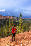 Woman Backpacker with a map, Ponderosa Canyon Bryce National Par Stock Photos