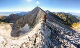 Woman backpacker standing mountain ridge. Royalty Free Stock Photo