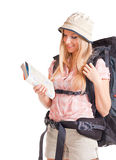 Woman backpacker tourist Royalty Free Stock Images