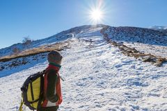 Woman backpacker trekking on snow on the Alps. Rear view, winter lifestyle, cold feeling, sun star in backlight. Royalty Free Stock Images