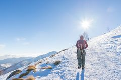 Woman backpacker trekking on snow on the Alps. Rear view, winter lifestyle, cold feeling, sun star in backlight. Royalty Free Stock Photography