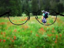 Woman Backpacking Glasses Focus. Woman young backpacking in wildflowers taking photograph blurred with glasses stock images