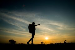 Woman backpacking Royalty Free Stock Photos