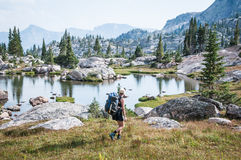 Woman Backpacking Stock Photos