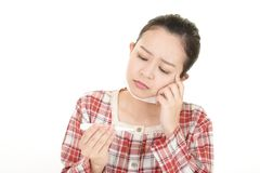 Woman got a cold. Woman in bad condition having flu royalty free stock photography