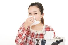 Woman got a cold. Woman in bad condition having flu stock image