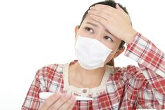 Woman got a cold. Woman in bad condition having flu royalty free stock photo