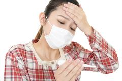 Woman got a cold. Woman in bad condition having flu royalty free stock images