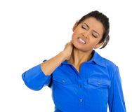 Woman with really bad neck pain Stock Photo