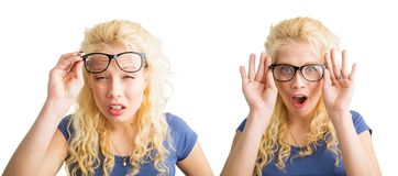Woman with bad vision and with glasses. Blonde woman with bad vision and with glasses Stock Image