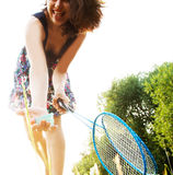 Woman with badminton Stock Images