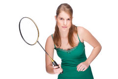 Woman with badminton racket Stock Image