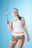 Woman with badminton racket Royalty Free Stock Images