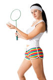 Woman with badminton racket Stock Images