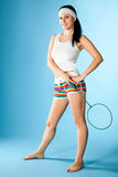 Woman with badminton racket Royalty Free Stock Photo