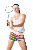 Woman with badminton racket Stock Photography