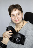 Woman with a bag. The woman grabbed the bag and does not give her. The big surprise, and frightened eyes Stock Photos