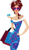 Woman with bag. Vector illustration woman who holds a card in a hand Royalty Free Stock Photo