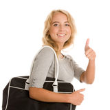 Woman with bag. Portrait of young woman with bag giving thumbs up isolated on white background stock photos