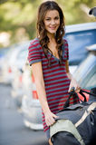 Woman and Bag Royalty Free Stock Images