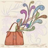 Woman bag with abstract element Royalty Free Stock Photos
